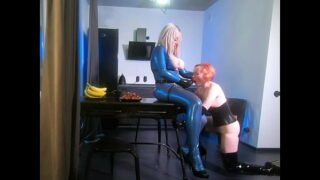 home video lesbians in latex rubber bondage and strap on suck and fuck