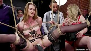Governess Aiden Starr makes dark haired gimp Ashley Lane submit at sadism & masochism orgy soiree then big-chested ginger-haired Lauren Phillips interracial buttfuck fuck